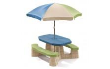 Kinderpicknicktafel met parasol (aqua) Step2